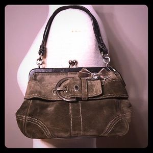 Coach Purse -Olive Green Suede & Leather